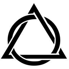 black silhouette of a triangle interwoven in a circle Geometric Drawing, Geometric Logo, Geometric Designs, Dreieckiges Tattoos, Body Art Tattoos, Small Tattoos, Icon Design, Logo Design, Graphic Design