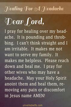 Prayer Of The Day – Healing For A Headache