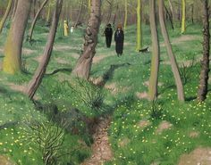 """saltyinfluencersoul: """"kzmkwoji: """"Felix Vallotton Undergrowth in spring """" That red chapeau and the lady in yellow absolutely make this landscape. Landscape Drawings, Landscape Art, Landscape Paintings, Landscapes, Henri Rousseau, Henri Matisse, Pierre Bonnard, Art Archive, French Artists"""