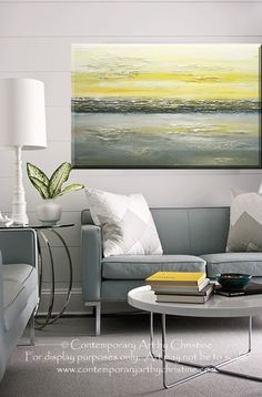 GICLEE PRINT Art Abstract Painting Yellow Grey Wall Art Modern Canvas – Christine Krainock Art