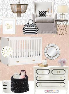 Black and White Nursery Design Board - the pops of pink and gold add an elegant touch! {Nursery inspiration came from this fab @jujubebags diaper bag} #PNpartner