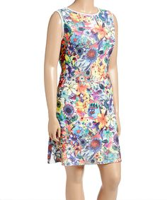 Look what I found on #zulily! Poliana Plus White & Orange Floral Tank Dress - Plus by Poliana Plus #zulilyfinds