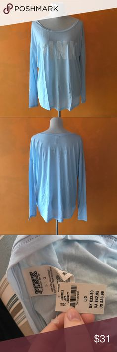 NWT Victoria's Secret PINK Long Sleeve Blue Shirt VERY SOFT- Next day shipping PINK Victoria's Secret Tops Tees - Long Sleeve
