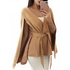 Choies Camel Tie Waist Wool Blend Poncho Coat featuring polyvore women's fashion clothing outerwear coats khaki camel coat camel poncho beige camel coat beige coat poncho coats
