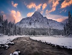 Dramatic sunrise behind the Canadian Rockies