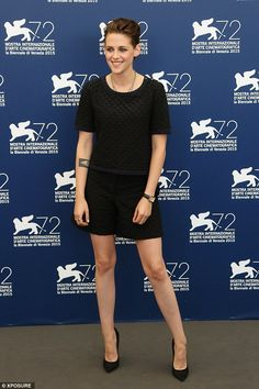 Beaming: Kristen Stewart, 25, appeared in unusually high spirits as she attended a photocall for the film Equals at the Venice Film Festival on Saturday