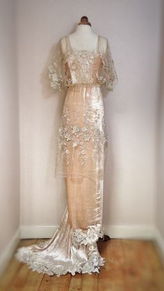 Image of SAMPLE SALE: honey velvet & embroidered nude tulle Belle Epoque inspired wedding dress, size UK8/10