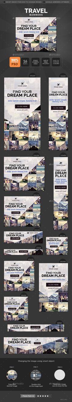 Travel banners Template PSD #banner #webbanner #design Download: http://graphicriver.net/item/travel-banners/10650142?ref=ksioks