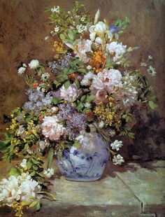 Canvas print of Spring Bouquet by Renoir. Product: Wall artConstruction Material: Cotton canvas and woodFeatures: Reproduction of art by Pierre-Auguste Renoir Pierre Auguste Renoir, Edouard Manet, Spring Bouquet, Spring Flowers, Art Floral, August Renoir, Renoir Paintings, Flower Paintings, Big Vases