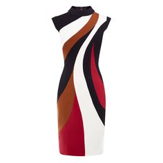 COLOUR-BLOCKED PENCIL DRESS ($255) ❤ liked on Polyvore featuring dresses, ponte knit dress, colorblock dress, block print dress, pencil dress and abstract dress