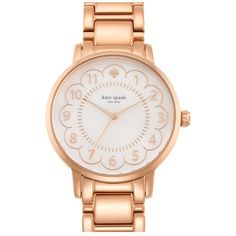 kate spade new york 'gramercy' scalloped dial bracelet watch, 34mm ($225) ❤ liked on Polyvore featuring jewelry, watches, rose gold, kate spade, clasp bracelet, stainless steel jewelry, kate spade bracelet and bracelet jewelry