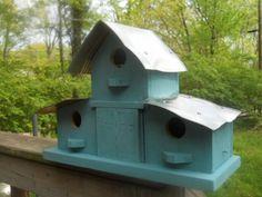Bird house, barn house, tin roof birdhose by Jojosprimitives on Etsy