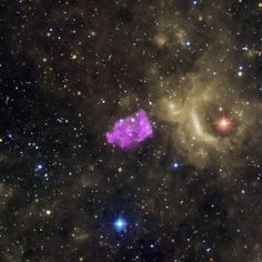 3C 397 (G41.1-0.3): 3C 397 (also known as G41.1-0.3) is a Galactic supernova remnant with an unusual shape. Researchers think its box-like appearance is produced as the heated remains of the exploded star -- detected by Chandra in X-rays (purple) -- runs into cooler gas surrounding it. This composite of the area around 3C 397 also contains infrared emission from Spitzer (yellow) and optical data from the Digitized Sky Survey (red, green, and blue).