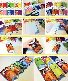 Gratis te printen uil doosjes | Free printable | Te gek voor een traktatie!