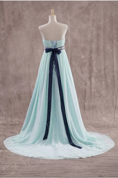 Perfect A-Line Strapless Natural Train Chiffon Green Sleeveless Lace Up-Corset Evening Dress with Draped JWJT14006 - Special Occasion Dresses #cocomelody