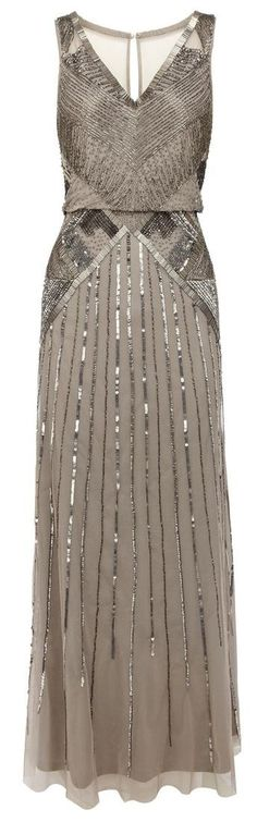 Gray sequin bridesmaid dress
