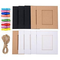 eBoot 20 Pièces Cadre Photo en Papier Cadres Papier Avec des Clips en Bois de 20 Pièces et des Ficelles de 2 Pièces