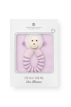 Geschenkset Affe rosa - bellybutton - Inhalt: Mulltuch & Häkelrassel - Material: 100 % Baumwolle - Altersempfehlung: ab 0 Monaten geeignet