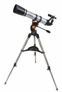 """Celestron 21068 SkyScout Scope 90mm Telescope with Sky Scout Mounting Braket by Celestron. $280.70. 90mm (3.5"""") diameter refractor, 660mm focal length (f/7), altazimuth mount with pan handle and built-in clutch, 6x30 finderscope, 40mm eyepiece (16.5x) - 1.25"""", 10mm eyepiece (66x) - 1.25"""", adjustable SkyScout mounting bracket, erect image fully coated optics, adjustable height stainless steel leg tripod with accessory tray, """"The Sky Level 1"""" CD-ROM"""