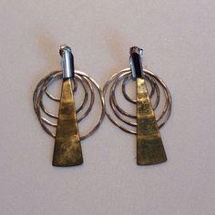 Robert Lee Morris RLM Studio Modernist Earrings Hammered Sterling Silver Brass  #RobertLeeMorris #DropDangle