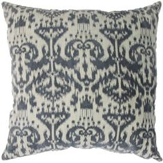 grey ikat decorative throw pillow in cotton velvet at skyiris.com