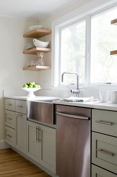 Stainless Steel Apron Sink Flanked by Stacked Floating Shelves, Transitional, Kitchen