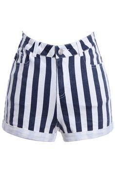 ROMWE | Fading Blue-white Striped Shorts, The Latest Street Fashion #ROMWE