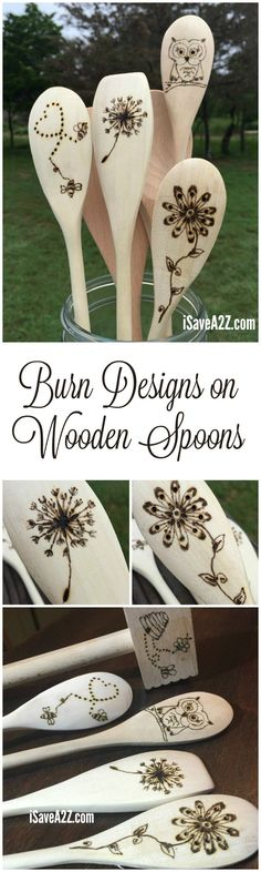How to Burn Designs on Wooden Spoons - iSaveA2Z.com #Woodenspoons