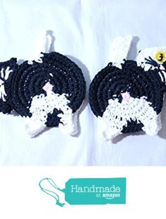 Made To Order Peek-A-Boo Cat Butt Coasters, Black and White Cat Coasters, Crochet Peek-A-Boo Cat Butt Mug Rugs, Handmade Cat Butt Coasters https://www.amazon.com/dp/B01LYDSCB1/ref=hnd_sw_r_pi_dp_u2r8xbZVX6TDT #handmadeatamazon