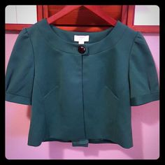 Ann Taylor LOFT Green Bolero Shirt Sleeve Jacket This is a cute jacket I have worn a handful of times to Christmas parties and events for a cover up. It is in great condition. Ann Taylor LOFT  Jackets & Coats