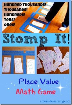 Stomp It! Place value game: I love to use the floor for math activities to add motor activity! stomp it! place value math game - great way to get the kids up and moving! Math For Kids, Fun Math, Math Activities, Subtraction Activities, Kinesthetic Learning, Teaching Math, Place Value Math Games, Place Value Ks2, Homeschool Math