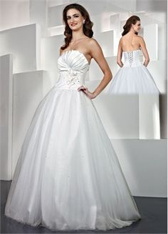 Strapless Ball Gown Flower Tulle and Satin Prom Dress PD10026 www.dresseshouse.co.uk $118.0000