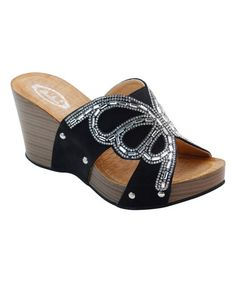 Another great find on #zulily! Black & Tan Rhinestone Butterfly Wedge #zulilyfinds