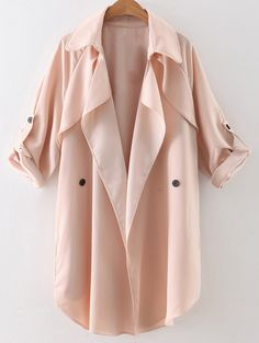 Buttoned Waterfall Trench Coat - PINK S