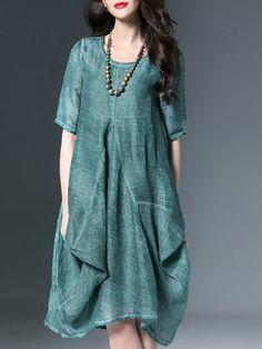 Green Half Sleeve Linen Midi Dress