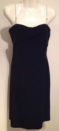 New Laundry Bodycon Chain Strapped Black Velvet Dress ($185 retail) Lined Size 4