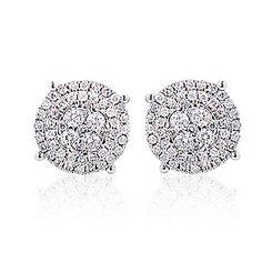 Sparkling Round Diamond Cluster Earrings 0.90ct 14K Gold