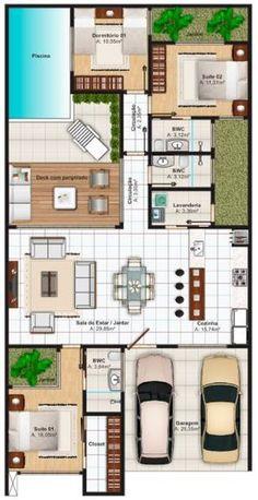 planos de casas de 10x20 con piscina atrás