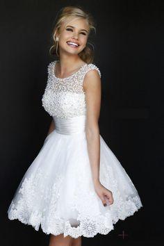 Scoop Lace Mini-length Natural Waist V-back Prom Dresses