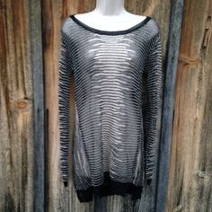 NWT Black Cream Long Sweater Size S Perfect with skinny jeans or leggings!  Boutique Sweaters