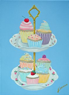 HIGH TEA - a truly tempting original painting, acrylic on canvas.