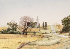 """""""Prairie Prelude"""" depicts a little rural church in southeastern SD. John Crane, Art Watercolor, Pen And Paper, Pretty Pictures, Bird Houses, Art Boards, Image Search, Country Roads, Fine Art"""