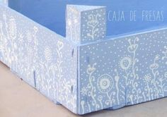 """Una caja de fresas """"Azul Cadaqués""""… Recycling, Fruit Box, Country Paintings, Altered Boxes, Wooden Crates, Sewing Box, Creative Home, Wood Boxes, Home Deco"""