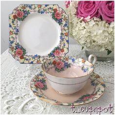 Beautiful Vintage AYNSLEY trio Tea Cup Saucer and Tea Plate.