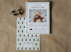 Woodsy Baby Announcement Woodland Forest by SubstationPaperie