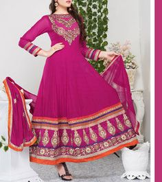Pink Embroidered Georgette Anarkali Suit