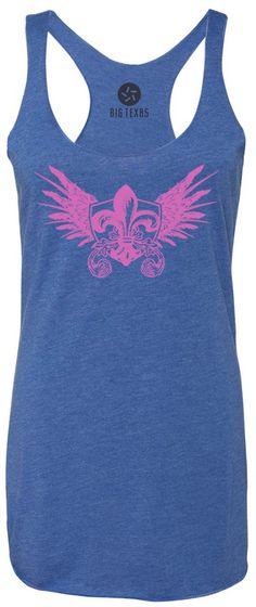 Winged Fleur De Lis (Pink) Tri-Blend Racerback Tank-Top