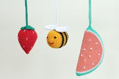 Bee & fruits hanging toys Baby gym toy crib toy by LanaCrocheting