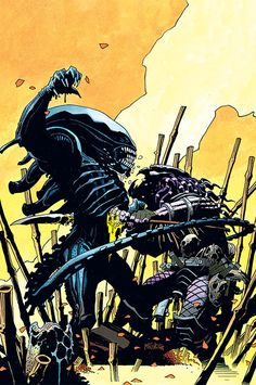 Mike Mignola's Aliens vs. Predator cover. I like that Alien is actually taller than Predator in this illustration. It's usually the other way around.