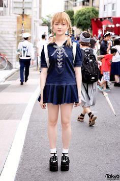 Denim Mini Dress, Twintails & Tokyo Bopper Shoes in Harajuku (Tokyo Fashion, 2015)